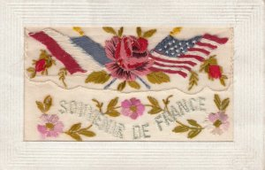 Embroidered 1914-18 ; USA & France Flags