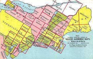 Boston MA Walker's 1911 Automobile Maps East Coast Postcard