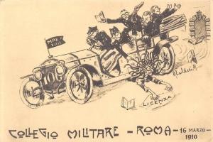 Collegio Militare di Roma, Auto Car Voiture, Licenza, Drawing, Sketch 1910