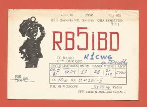 QSL AMATEUR RADIO CARD – DONETSK, UKRAINE, USSR – 1981