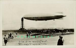 1930 Saint-Hubert Airport Quebec Real Photo PC: Airship R-100 at Mooring Mast