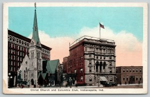 Indianapolis Indiana~Columbia Club~Christ Church~Vintage Cars~1920s Postcard
