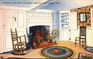Massachusetts Duxbury John Alden House Built 1653 The Fireplace and Living Room