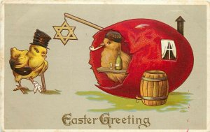 Embossed Easter Postcard 100 Jewish Chick in Red Egg has Booze for Wounded Chick