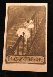 "1910 Comic Postcard Child ""Things We Ought Not Do"""