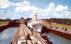 Panama Old Vintage Antique Post Card Tourist Liner SS Kungsholm Miraflores Lo...