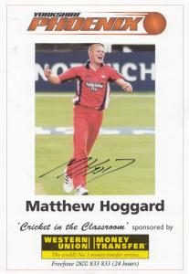 Matthew Hoggard Yorkshire Phoenix Team Hand Signed Cricket Photo