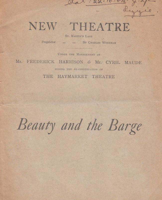 Beauty & The Barge 1904 Antique Sailing Vintage London Ship Play Theatre Prog...