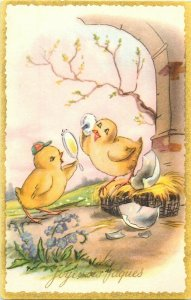 Humanized Easter Chicks Couple Fancy Mirror Fantasy Poulins Paques Fantaisie