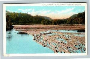 Wilder VT-Vermont, Log Drive On Connecticut River, Vintage Postcard