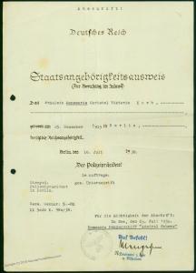 3rd Reich Germany Admiral Scheer Citizenship ID Spanish Civil War 48729