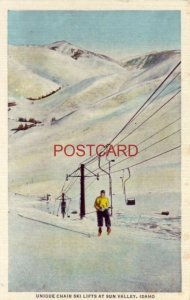 UNIQUE CHAIR SKI LIFTS AT SUN VALLEY, ID a Union Pacific Pictorial Post Card