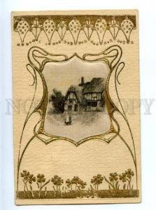 170081 ART NOUVEAU Landscape EMBOSSED vintage SILK Postcard