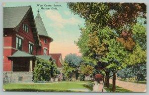 Marion Ohio~West Center Street Homes~Victorian Ladies Under Umbrella~1913 PC