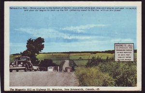 P1536 1955 used postcard old cars magnectic hill moncton new brunswick canada