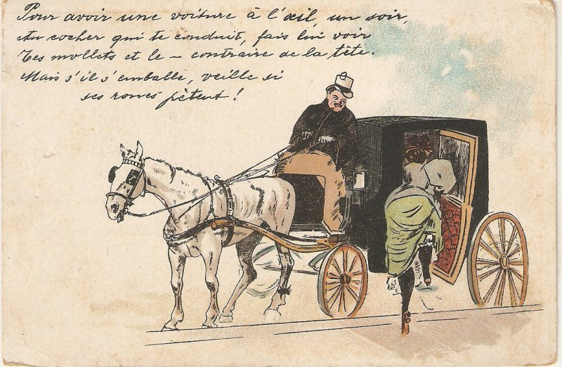 Lady entering a hrorse cartHumorous old vintage French postcrd