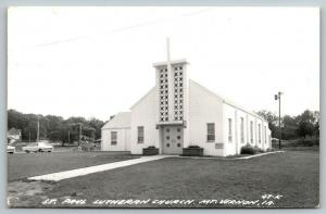 Mt Vernon Iowa~St Paul Lutheran Church~1950s Cars & Bicycles~1975 RPPC
