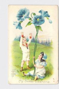 ANTIQUE POSTCARD VALENTINE BOY AND GIRL WITH BLUE MORNING GLORY FLOWER EMBOSSED