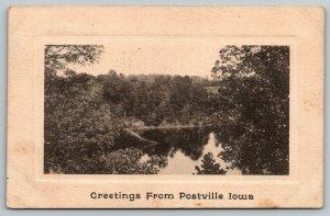 Postville Iowa~View on Williams Creek~Trees Reflect in Water~1910 B&W Postcard