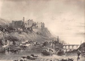Stadt und Schloss Heidelberg, Stahlstich von J. Cousen, Museum Castle