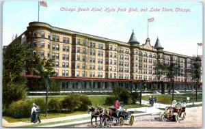 1910 Chicago Illinois Postcard CHICAGO BEACH HOTEL Hyde Park Blvd & Lake Shore