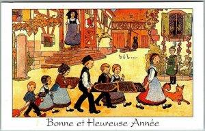 Vintage French France HAPPY NEW YEAR Postcard Bonne et Heureuse Annee 1999