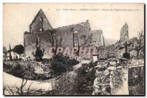 Old Postcard Army Aspach Upper Ruins of the church (December 1916)