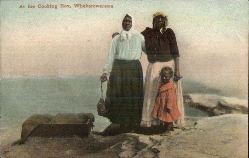 Native Women Cooking Box Whakarewarewa New Zealand c1910 Postcard