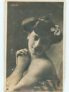 rppc c1910 Risque PRETTY GIRL WITH BARE SHOULDERS AC8671