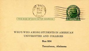 U S Postal Card - Jefferson, 1 cent, green. Reply Card