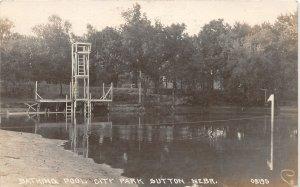 G32/ Sutton Nebraska RPPC Postcard c1910 Bathing Pool City Park Dive