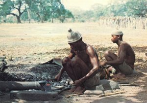 Vintage Postcard, Gambian Blacksmith and assistant, Gambia, Africa 90W