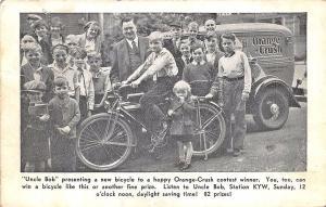 Chicago IL Orange Crush Truck Bicycle Contest Winner Uncle Bob Show  Postcard