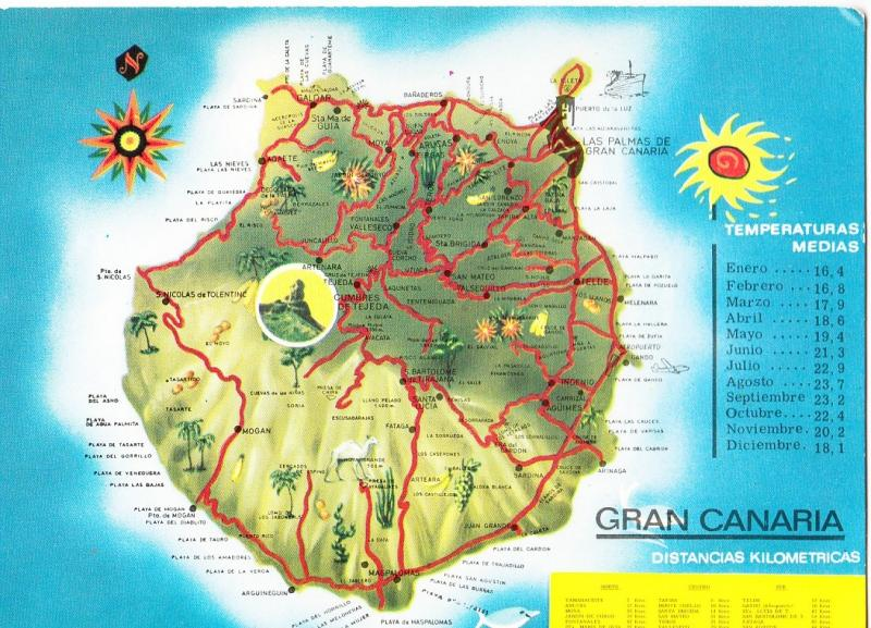 Map Of Spain Gran Canaria.Spain Gran Canaria Map Used Postcard Hippostcard