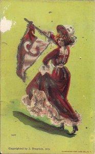 COLLEGE GIRL, Cornell University, 1905 Pennant, Glitter, Beautiful Woman