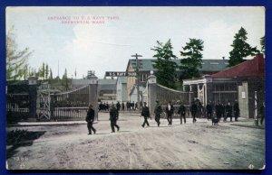 Entrance to US Navy Yard Bremerton Washington wa old postcard