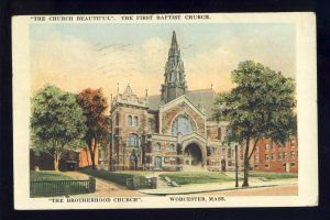 Worcester, Massachusetts/MA Postcard, The First Baptist Church, 1922!