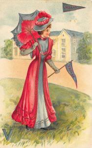 College Girls Vassar College Umbrella Embossed Postcard