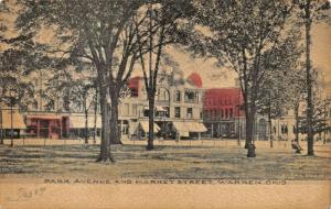 WARREN OH~PARK AVENUE & MARKET STREET-ALBERTYPE HAND COLORED 1907 PHOTO POSTCARD