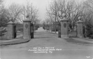 Harrodsburg Kentucky Old Fort Harrod Pioneer Mem State Park real photo pc Z11991