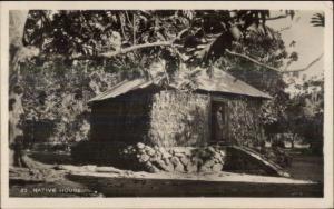 Suva Fiji Cancel Missing Stamp - Native House Real Photo Postcard