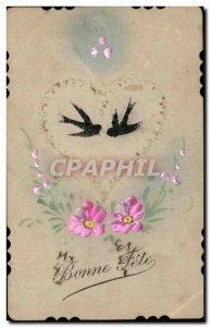 Holidays - Bonne Fete - Birds - Dove - Dove Old Postcard