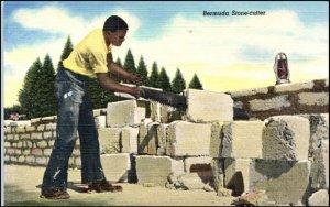 Bermuda Stone Cutter Linen Postcard