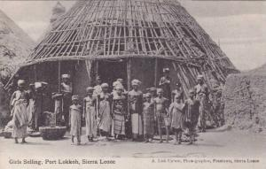 Topless Girls Selling Port Lokkoh, Sierra Leone, Africa, 1910-1920s