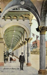 Venice California~Bearded Man in Arcade~Woman w/ Baby Carriage~1912 Postcard