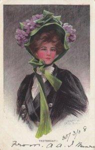 AS: Yesterday Boileau, PU-1908; Art Nouveau, Woman wearing flower bonnet
