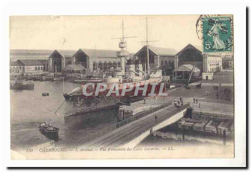Cherbourg Vintage Postcard the overall arsenal overall picture of the covered h