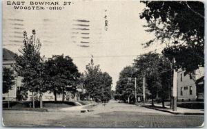Wooster, Ohio Postcard EAST BOWMAN STREET Downtown Scene w/ 1914 Cancel