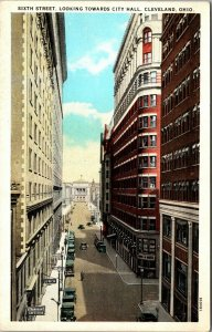 Cleveland Ohio 1940s Postcard East Sixth Street with Hollenden Hotel vintage