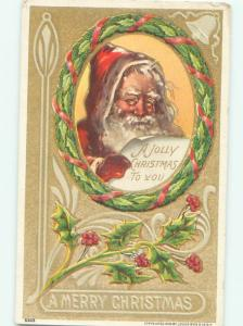 Pre-Linen Christmas SANTA CLAUS IN RING OF HOLLY AB4891